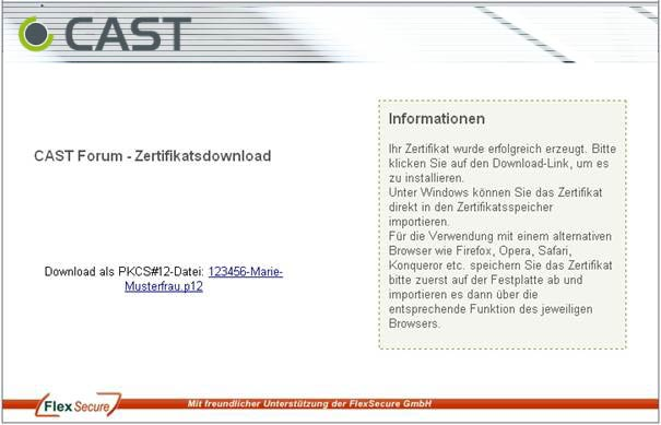 CAST Forum - Zertifikatsdownload